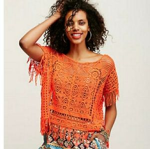 Free People NEW Georgia Crochet Poncho One Size